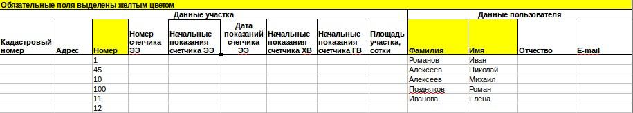 Заполненный шаблон реестра СНТ